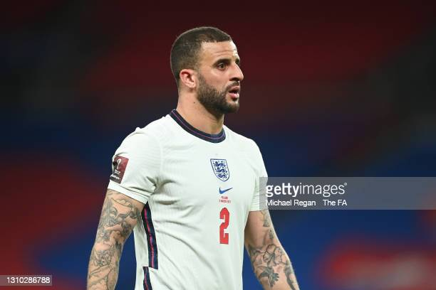 Kyle Walker of England looks on during the FIFA World Cup 2022 Qatar qualifying match between England and Poland on March 31, 2021 at Wembley Stadium...
