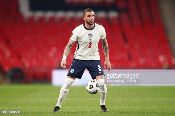 Kyle Walker of England looks to pass the ball during the FIFA World Cup 2022 Qatar qualifying match between England and Poland on March 31, 2021 at...
