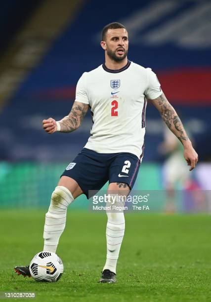 Kyle Walker of England passes the ball during the FIFA World Cup 2022 Qatar qualifying match between England and Poland on March 31, 2021 at Wembley...