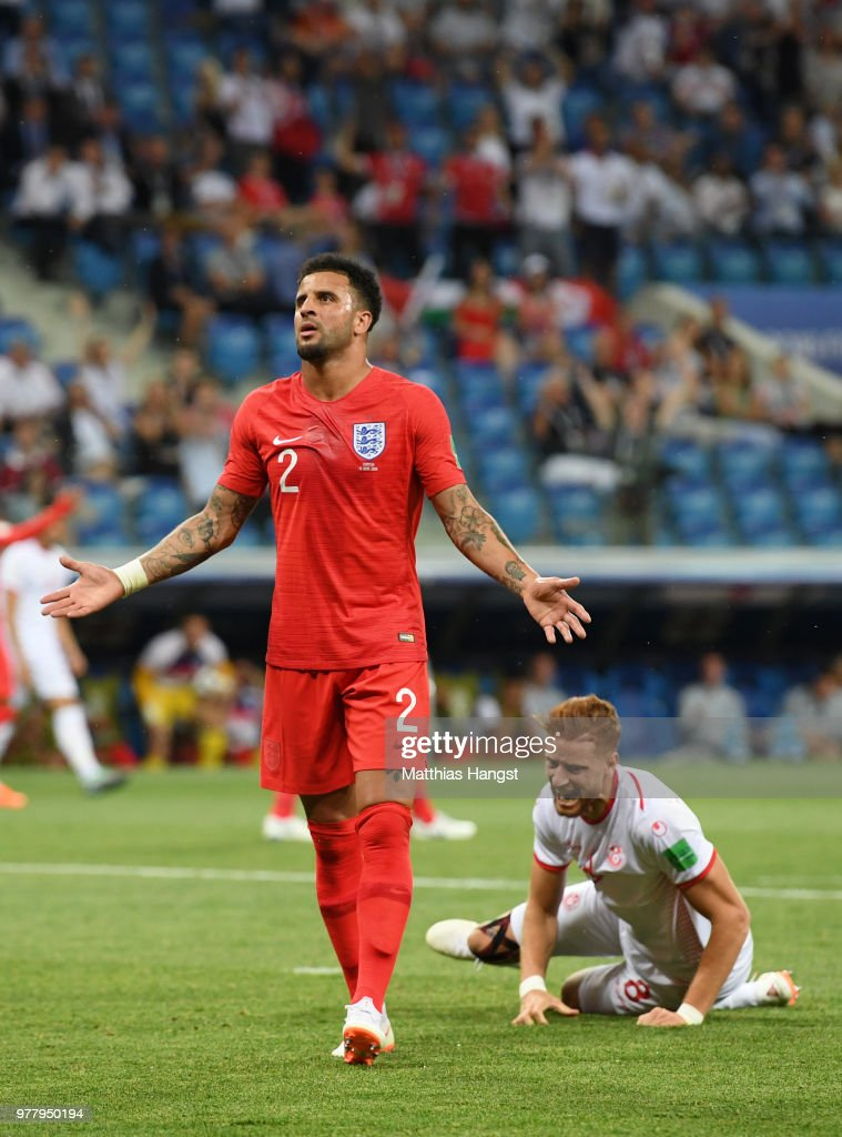Kyle Walker of England reacts after giving awat a penalty during the 2018 FIFA World Cup Russia group G match between Tunisia and England at Volgograd Arena on June 18, 2018 in Volgograd, Russia.