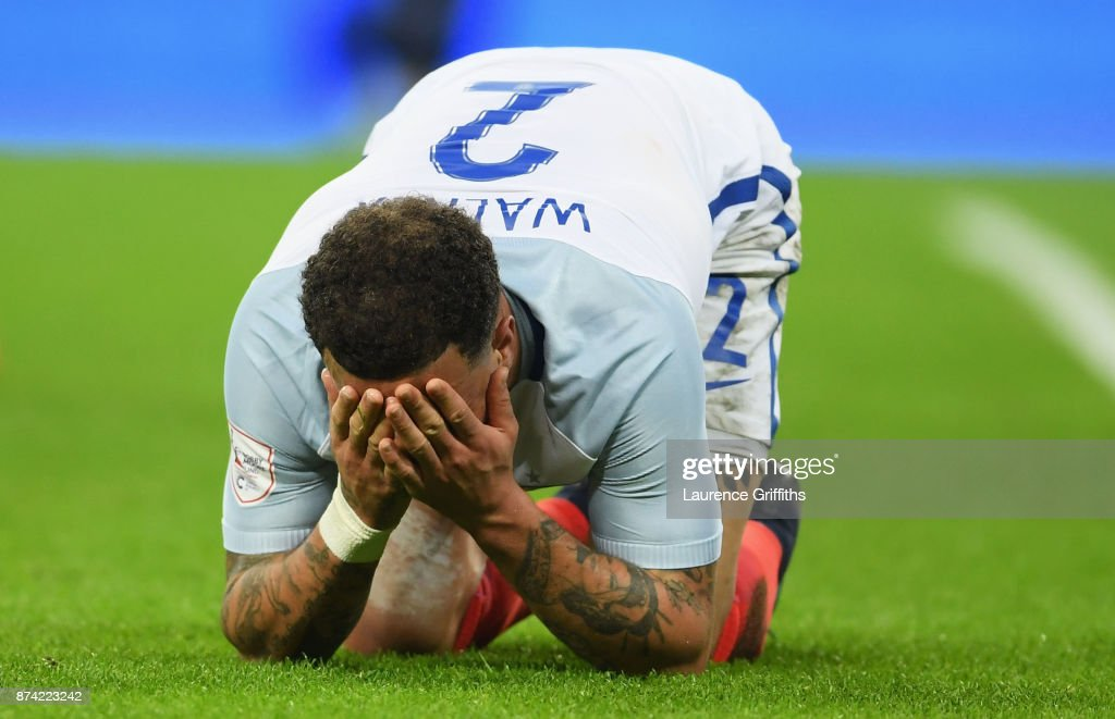 Kyle Walker of England reacts after the international friendly match between England and Brazil at Wembley Stadium on November 14, 2017 in London, England.