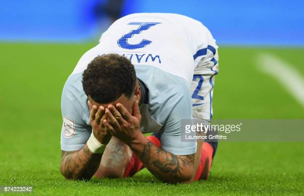 Kyle Walker of England reacts after the international friendly match between England and Brazil at Wembley Stadium on November 14 2017 in London...