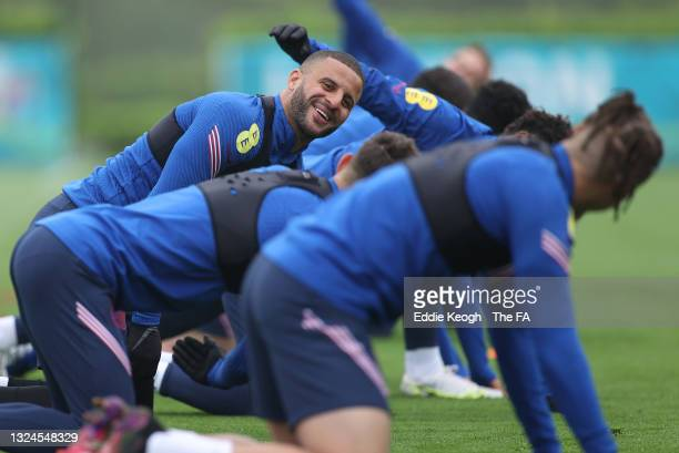 Kyle Walker of England reacts during the England Training Session at Tottenham Hotspur Training Ground on June 20, 2021 in Burton upon Trent, England.
