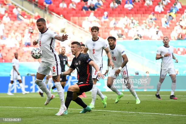 Kyle Walker of England shields the ball from Ivan Perisic of Croatia during the UEFA Euro 2020 Championship Group D match between England and Croatia...