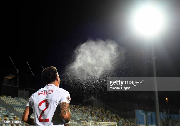 Kyle Walker of England sprys water from his mouth prior to the UEFA Nations League A Group Four match between Croatia and England at Stadion HNK...
