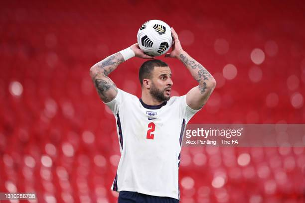Kyle Walker of England takes a throw-in during the FIFA World Cup 2022 Qatar qualifying match between England and Poland on March 31, 2021 at Wembley...