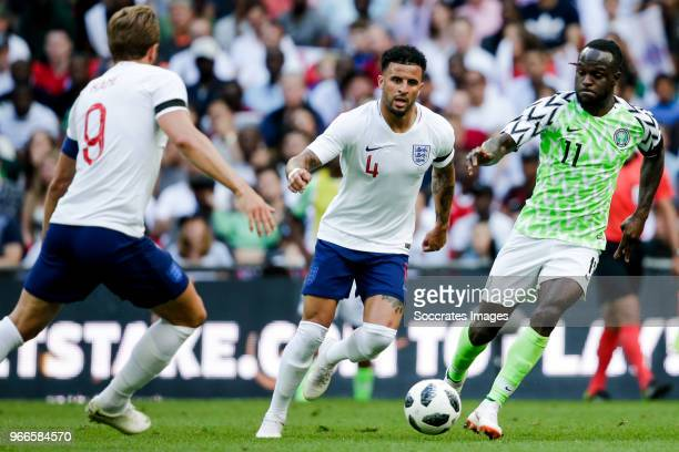 Kyle Walker of England Victor Moses of Nigeria during the International Friendly match between England v Nigeria at the Wembley Stadium on June 2...
