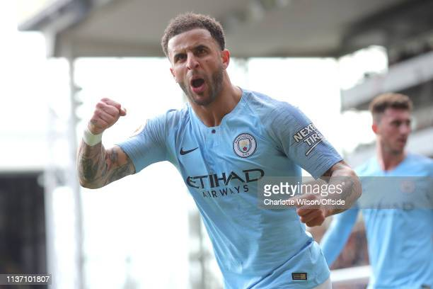 Kyle Walker of Man City celebrates their 2nd goal during the Premier League match between Crystal Palace and Manchester City at Selhurst Park on...