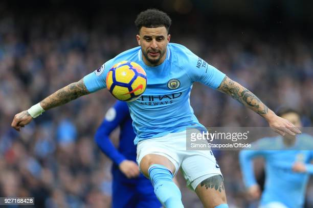 Kyle Walker of Man City in action during the Premier League match between Manchester City and Chelsea at the Etihad Stadium on March 4 2018 in...