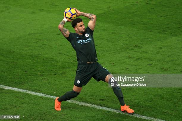 Kyle Walker of Man City takes a throwin during the Premier League match between Stoke City and Manchester City at the Bet365 Stadium on March 12 2018...