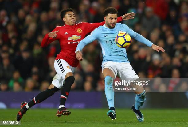 Kyle Walker of Manachester City nd Jesse Lingard of Manchester United in action during the Premier League match between Manchester United and...