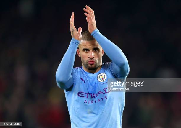 Kyle Walker of Manchester City acknowledges the fans during the Premier League match between Sheffield United and Manchester City at Bramall Lane on...