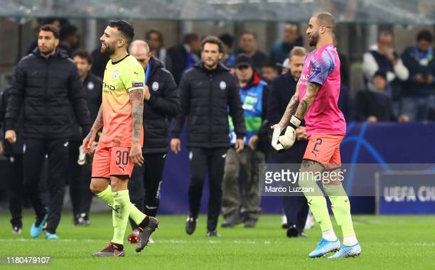 Kyle Walker of Manchester City after playing the goalkeeper position at the end of the UEFA Champions League group C match between Atalanta and...