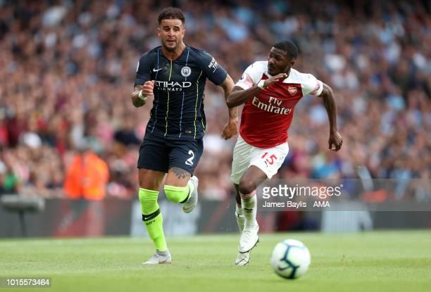 Kyle Walker of Manchester City and Ainsley MaitlandNiles of Arsenal during the Premier League match between Arsenal FC and Manchester City at...