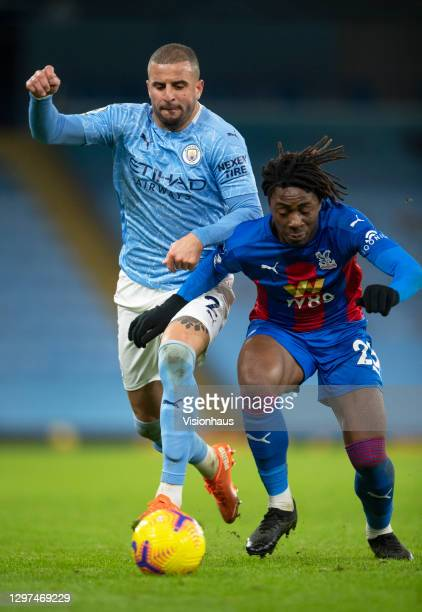 Kyle Walker of Manchester City and Eberechi Eze of Crystal Palace in action during the Premier League match between Manchester City and Crystal...