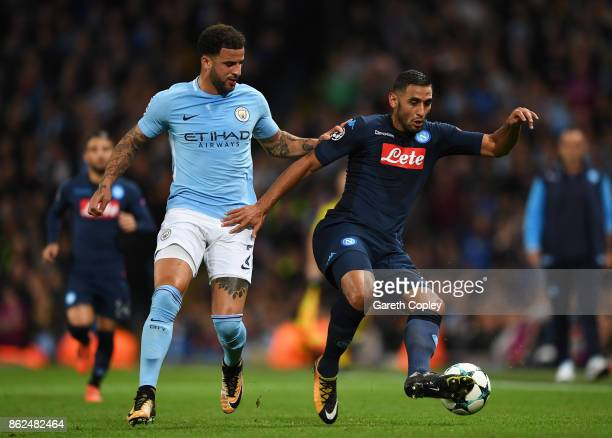 Kyle Walker of Manchester City and Faouzi Ghoulam of SSC Napoli battle for possession during the UEFA Champions League group F match between...