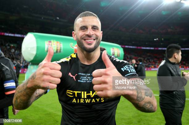 Kyle Walker of Manchester City celebrates after his sides victory in the Carabao Cup Final between Aston Villa and Manchester City at Wembley Stadium...
