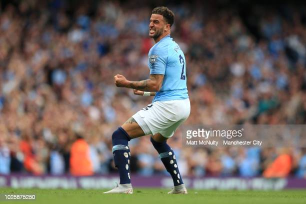 Kyle Walker of Manchester City celebrates after scoring his team's second goal during the Premier League match between Manchester City and Newcastle...