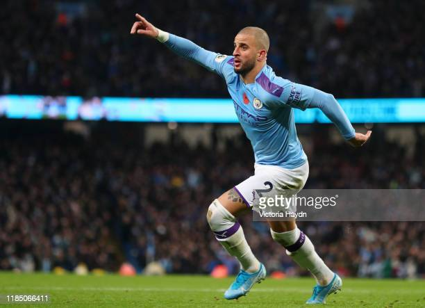 Kyle Walker of Manchester City celebrates after scoring his team's second goal during the Premier League match between Manchester City and...