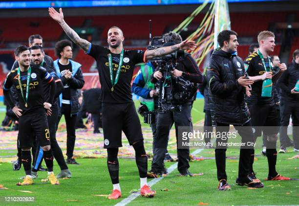 Kyle Walker of Manchester City celebrates after the Carabao Cup Final between Aston Villa and Manchester City at Wembley Stadium on March 01 2020 in...