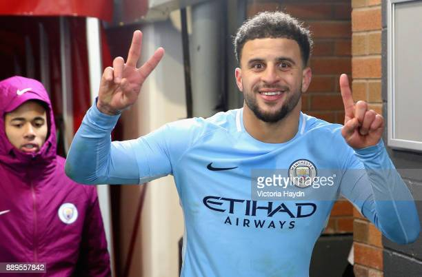 Kyle Walker of Manchester City celebrates after the Premier League match between Manchester United and Manchester City at Old Trafford on December 10...