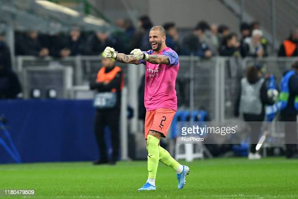 Kyle Walker of Manchester City celebrates the victory at the end of the match as he played as goalkeeper during the UEFA Champions League group stage...