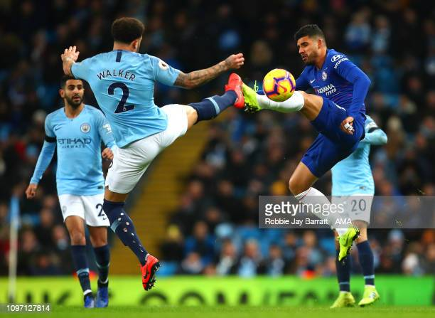 Kyle Walker of Manchester City competes with Emerson Palmeieri of Chelsea during the Premier League match between Manchester City and Chelsea FC at...