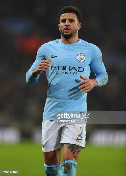 Kyle Walker of Manchester City during the Carabao Cup QuarterFinal match between Leicester City and Manchester City at The King Power Stadium on...