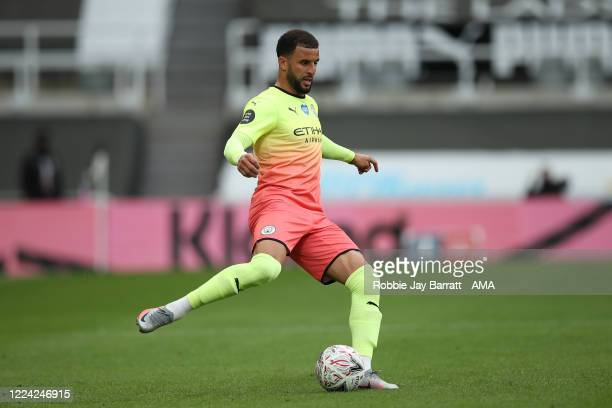Kyle Walker of Manchester City during the FA Cup Quarter Final match between Newcastle United and Manchester City at St James Park on June 28 2020 in...