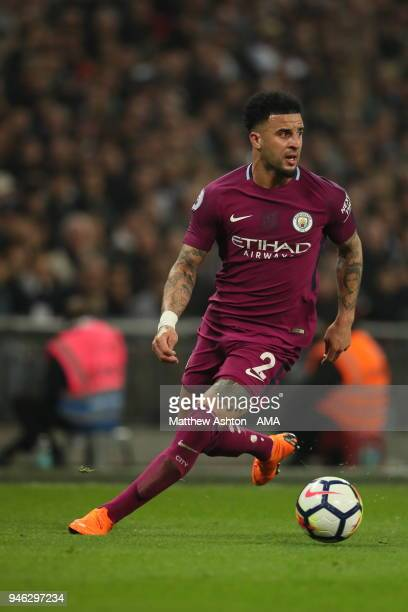 Kyle Walker of Manchester City during the Premier League match between Tottenham Hotspur and Manchester City at Wembley Stadium on April 14 2018 in...