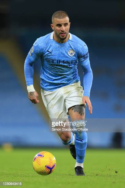 Kyle Walker of Manchester City during the Premier League match between Manchester City and Crystal Palace at the Etihad Stadium on January 17, 2021...
