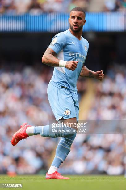Kyle Walker of Manchester City during the Premier League match between Manchester City and Southampton at Etihad Stadium on September 18, 2021 in...