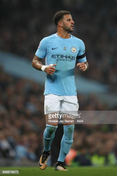 Kyle Walker of Manchester City during the Premier League match between Manchester City and Everton at Etihad Stadium on August 21 2017 in Manchester...