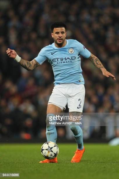 Kyle Walker of Manchester City during the UEFA Champions League Quarter Final Second Leg match at Etihad Stadium on April 10 2018 in Manchester...