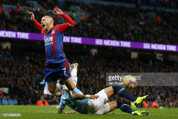 Kyle Walker of Manchester City fouls Max Meyer of Crystal Palace leading to a penalty during the Premier League match between Manchester City and...