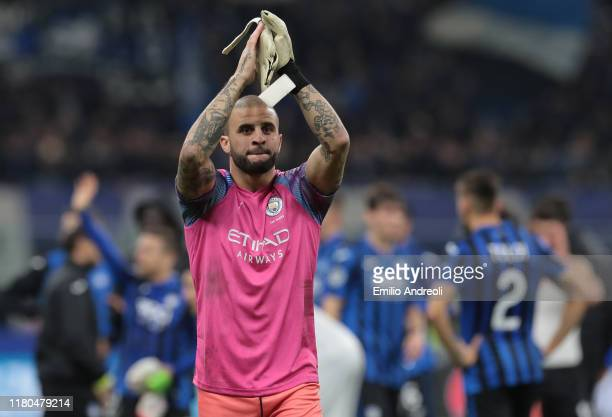 Kyle Walker of Manchester City greets the fans after playing the goalkeeper position at the end of the UEFA Champions League group C match between...