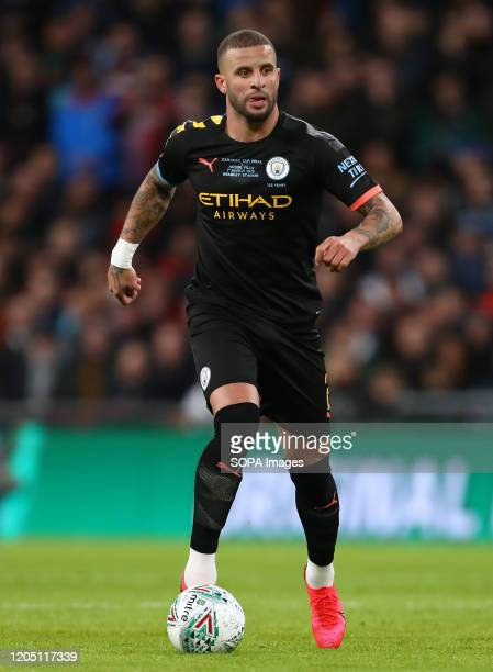Kyle Walker of Manchester City in action during the Carabao Cup Final match between Aston Villa and Manchester City at Wembley Stadium