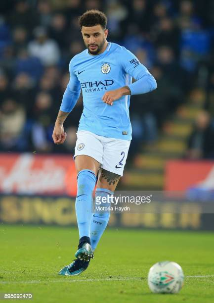 Kyle Walker of Manchester City in action during the Carabao Cup QuarterFinal match between Leicester City and Manchester City at The King Power...