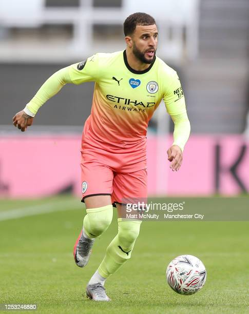 Kyle Walker of Manchester City in action during the FA Cup Quarter Final match between Newcastle United and Manchester City at St James Park on June...