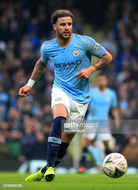 Kyle Walker of Manchester City in action during the FA Cup Third Round match between Manchester City and Rotherham United at the Etihad Stadium on...