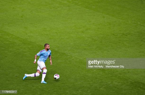 Kyle Walker of Manchester City in action during the Premier League match between Manchester City and Wolverhampton Wanderers at Etihad Stadium on...