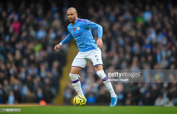 Kyle Walker of Manchester City in action during the Premier League match between Manchester City and Southampton FC at Etihad Stadium on November 02...