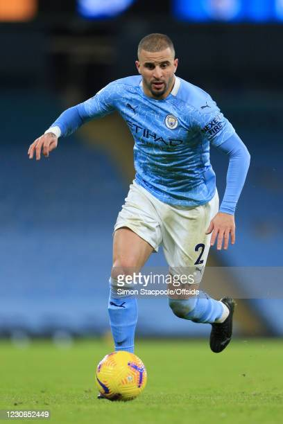 Kyle Walker of Manchester City in action during the Premier League match between Manchester City and Crystal Palace at the Etihad Stadium on January...
