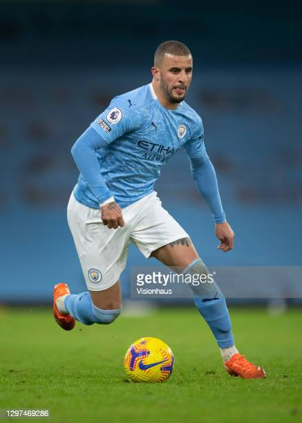 Kyle Walker of Manchester City in action during the Premier League match between Manchester City and Crystal Palace at Etihad Stadium on January 17,...