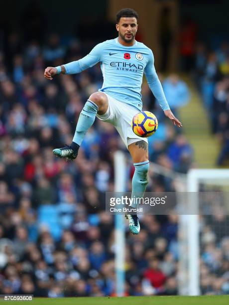 Kyle Walker of Manchester City in action during the Premier League match between Manchester City and Arsenal at Etihad Stadium on November 5 2017 in...