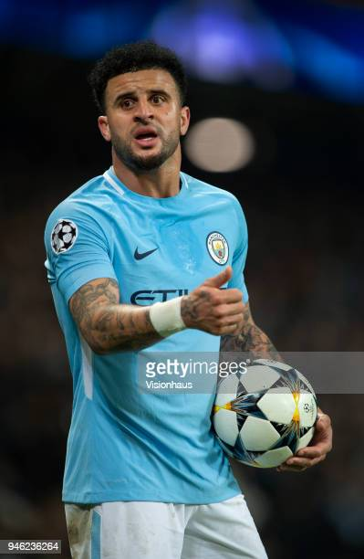 Kyle Walker of Manchester City in action during the UEFA Champions League quarter final 2nd leg tie between Manchester City and Liverpool at the...
