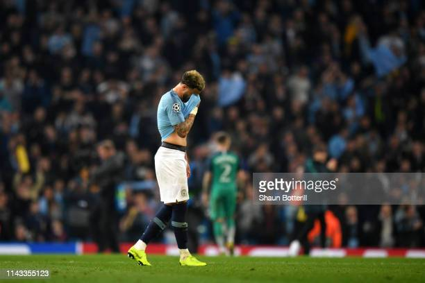 Kyle Walker of Manchester City is dejected after the final whistle the UEFA Champions League Quarter Final second leg match between Manchester City...