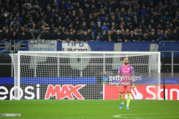 Kyle Walker of Manchester City looks on after being in goal during the UEFA Champions League group C match between Atalanta and Manchester City at...