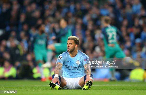 Kyle Walker of Manchester City looks on dejected after Son Heung-min of Tottenham Hotspur had scored his second goal during the UEFA Champions League...