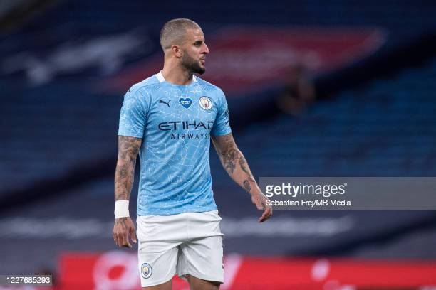 Kyle Walker of Manchester City looks on during the FA Cup Semi Final match between Arsenal and Manchester City at Wembley Stadium on July 18 2020 in...